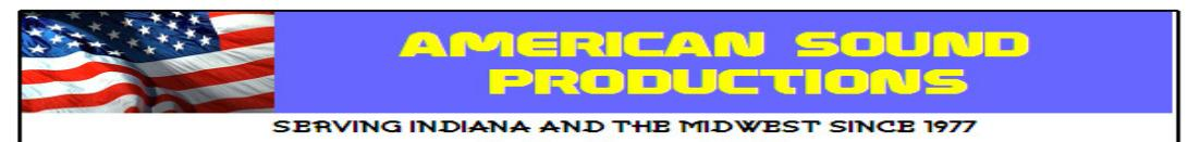 American Sound productions Banner with Flag in Wind with business Address and Phone